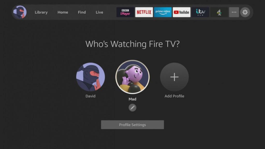 AMAZON FIRE TV Profile Screen 2021